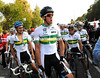 The Australian team look at Cavendish - the faces of Hayman, Haussler, Gerrans, Cooke and Clarke tell their own story of the day...