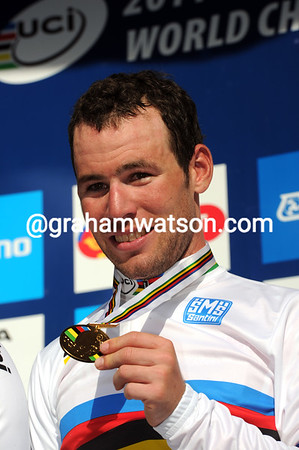 Mark Cavendish shows his Gold medal, but his emotions seem mixed...