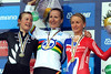 Jidith Arndt shares her winner's podium with Linda Villumsen and Emma Pooley