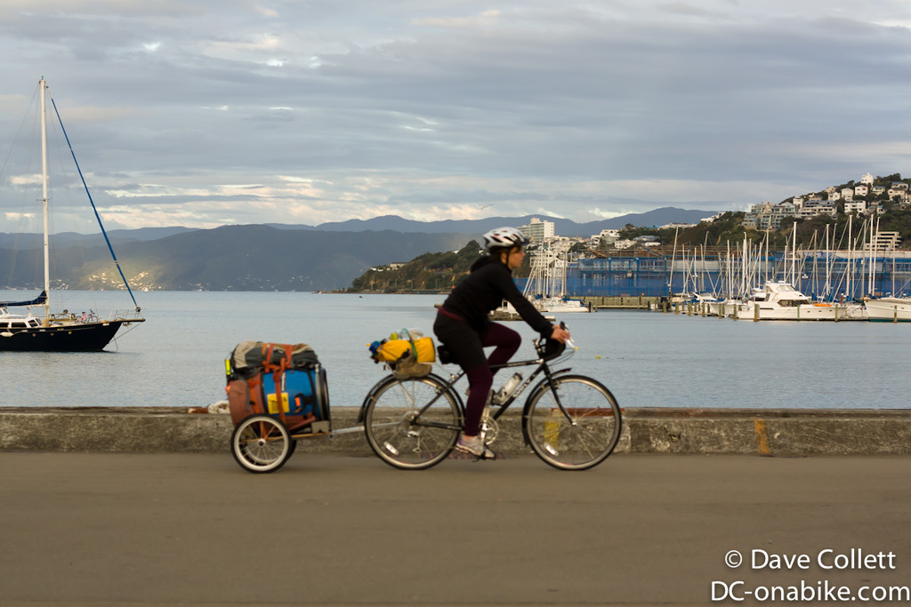 Cycle Tourist with a barrel on a trailer!