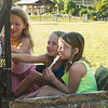 Paige, Lilith and Lexi getting ready to ride up to the lookout.