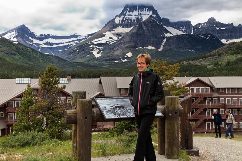 Dana in front of Many Glacier Hotel, Montana