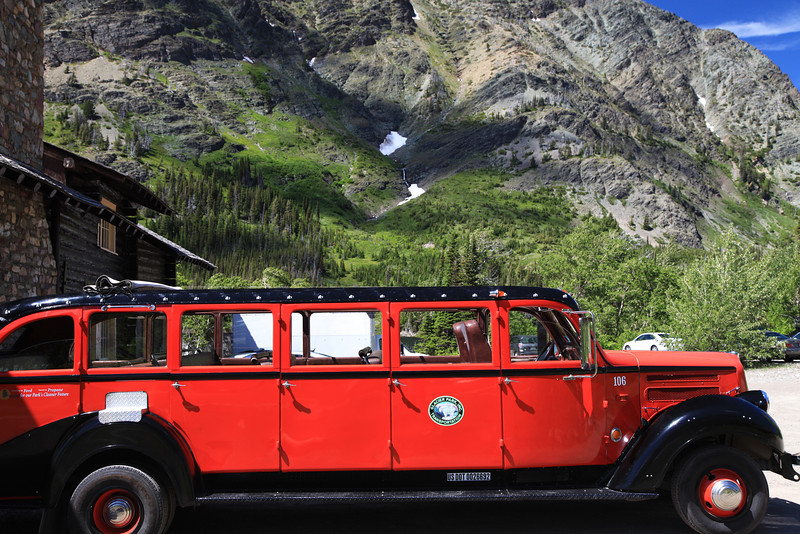 Glacier Park's Shuttle Bus at Two Medicine Lake