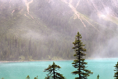 Sherbrooke Lake with morning mist