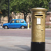 Manchester's golden postbox, in honor of Philip Hindes' gold medal at the London 2012 Olympics.