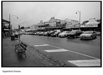 Daylesford on a wet February day, Victoria, Australia.  This is Vincent Street, you could be excused from thinking you were in another century but for the modern cars parked in the bays.  Photographed February 2012 - © 2012 Lesley Bray Photography - All Rights Reserved.