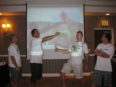 """Team """"Semi"""" Chubby just can't help the antics... As they receive an award for Most Spirited... a free entry to the 2013 race. We just can't imagine a Hoodoo race without the Chubbies..."""