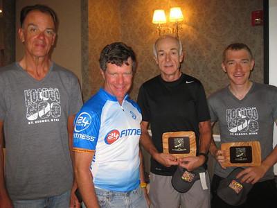 Solo finishers Bill Packard, Roland Hoffman, 50+/60+ record holder David Holt, Winner and record holder Adam Bickett. (Not pictured, Ilya Signayevski - who was probably still sleeping.)
