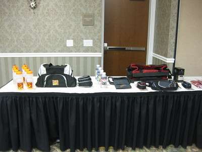 Lots of great schwag for the raffle!