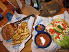 Hawaiian Burger and Grilled Fish Tacos (Scott got a grilled fish sandwich)