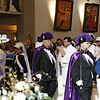 The photos don't show it, but after the men being ordained processed in, all of the Priests and Deacons in attendance processed in. Then the Bishop. After that, the Knights marched out.