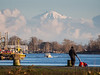 The top of Mount Baker peeks through the clouds. As seen from Garry Point Park in Steveston.