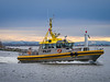 """Pilot boat """"Pacific Navigator"""" heading out of Steveston Harbour."""