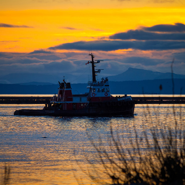 "Tugboat ""Seaspan Corsair"" heading down the Fraser River at dusk."