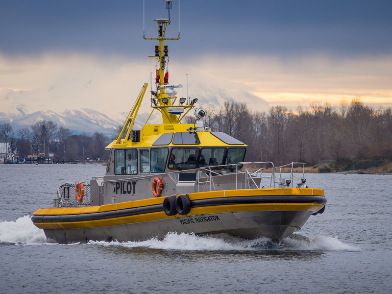 "Pilot boat ""Pacific Navigator"" heading out of Steveston Harbour."