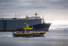 """Pilot boat """"Pacific Navigator"""" on the job chasing car carrier """"Century Highway No. 2""""."""