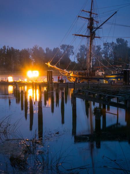 "Tall Ship ""Hawaiian Chieftain"" being filmed at Britannia Heritage Shipyard."