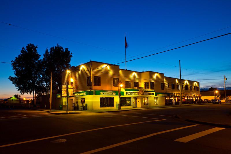 The Steveston Hotel at twilight.