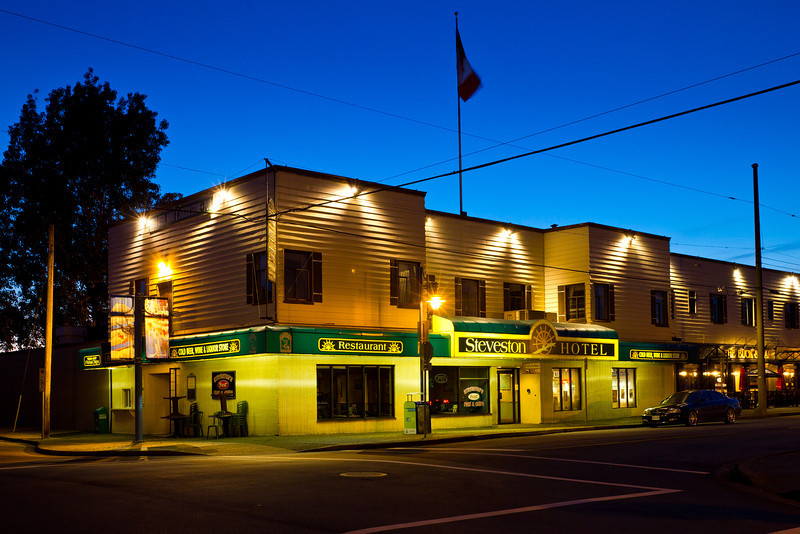 The Steveston Hotel at twilight.