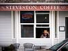 Man in quiet contemplation at Steveston Coffee.