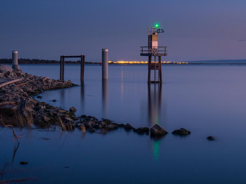 Long exposure of light beacon in Garry Point Park.