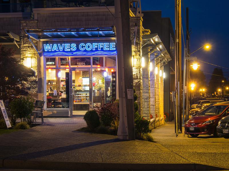 Night shot of Waves Coffee in Steveston Village.