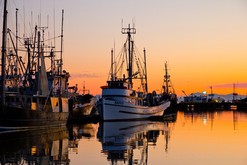 Sunset at Steveston harbour.