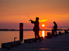 Fishing off the floating docks at sunset in Steveston.