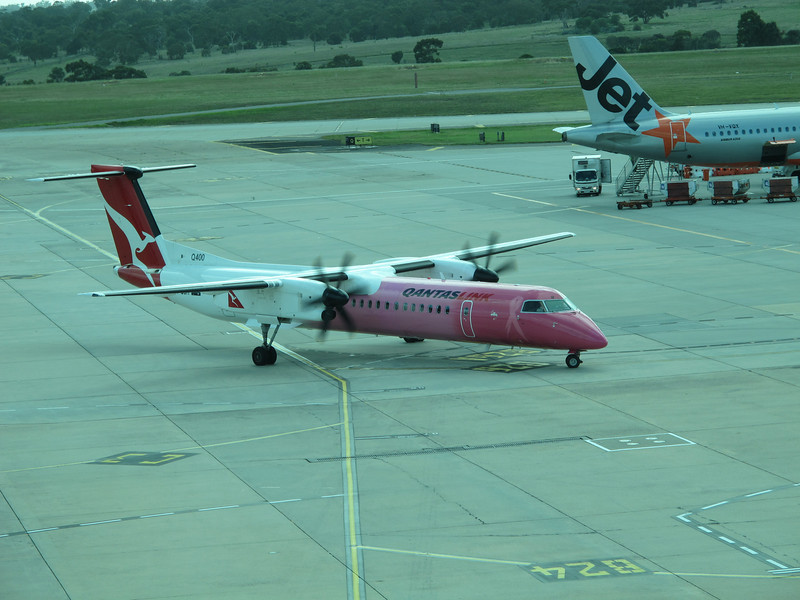 The Qantas Dash 8 plane that I am catching to Canberra today (29th April 2012) is pink.