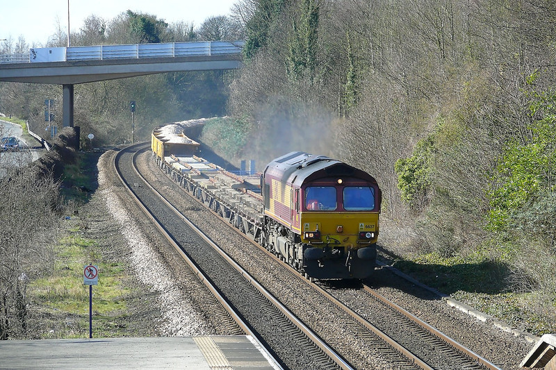 66137 is pacing through Hessle whilst in charge of 6T55 0948 Doncaster Up Decoy - Hull Springbank South Jn engineers working conveying track panels and fresh ballast in JNA Falcon wagons 10/03/12