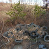 Tire dump just east of Coca Cola Drive, north of Park Circle Drive, and in the Deep Run floodplain.