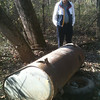 Troop 2336 cleared a path to this large oil drum that was surrounded by brambles so a future cleanup group (with Paul Farragut dreaming up a plan here in the photo) can extract this from the park.