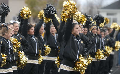 Glenbard North's cheerleaders celebrate a touchdown during their playoff game against Stevenson Saturday November 3, 2012. Glenbard North defeated Stevenson 23/14.   Staff photo by Erica Benson