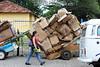 BRASIL 2012-04-03 CENAS DA CIDADE - TRES CARRINHOS DE MATERIAIS RECICLAVEIS SAO VISTOS EM RUA CENTRAL EM SAO JOSE DOS CAMPOS - SP BRASIL. / Reciclaje de papel. Carton.  / Brasilien: Kartonabfall. © Lucas Lacaz Ruiz/LATINPHOTO.org