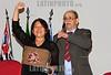 BRASIL 2012-04-21 O REVOLUCIONARIO PEDRO LOBO DE OLIVEIRA MILITANTE DA VPR VANGUARDA POPULAR REVOLUCIONARIA FOI HOMENAGEADO ONTEM A NOITE COM O TITULO DE CIDADAO JOSEENSE NA CAMARA MUNICIPAL A PEDIDO DA VEREADORA AMELIA NAOMI - PT. PEDRO LOBO FOI EXILADO PARA DIVERSOS PAISES COMO ARGELIA, CUBA, CHILE, ARGENTINA E ALEMANHA ORIENTAL ATE RETORNAR AO BRASIL NA ANISTIA. NA FOTO PEDRO LOBO E A VEREADORA AMELIA NAOMI. / Brasilien: Pedro Lobo. © Lucas Lacaz Ruiz/LATINPHOTO.org