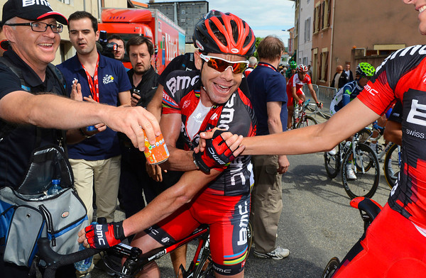 Cheers mate! Cadel Evans celebrates winning stage one of the Dauphiné-Libéré..!