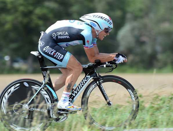 "Sylvain Chavanel set fastest-time at an early check-point before slowing to 5th place, 1' 33"" down..."