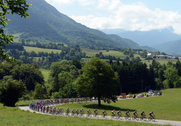 There's an Alpine flavour to the scenery as Team Sky leads the peloton towards the next ascent...