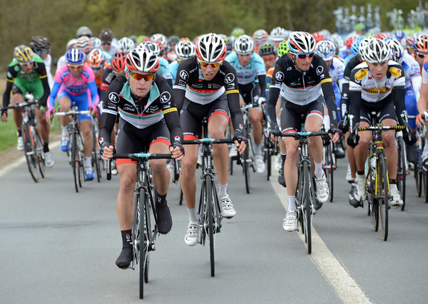 Radio Shack show themselves at the head of the chasing peloton...
