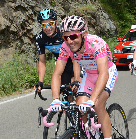 Joachim Rodriguez seems happy today - he's joking with Sergio Henao at the back of the peloton...