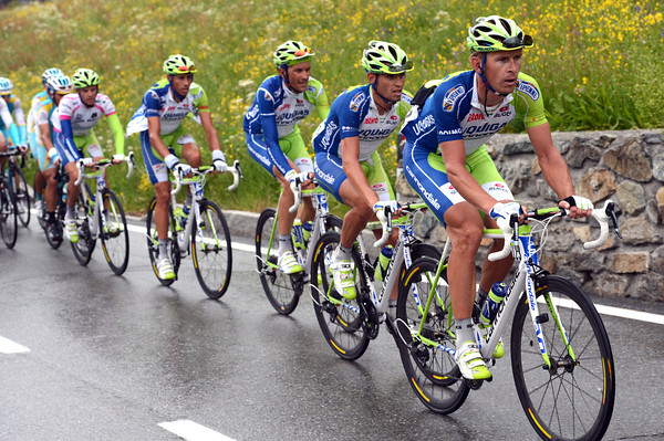 Big man Bodnar is setting a strong pace for Liquigas on the Col de Joux...