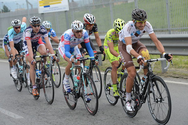 Matteo Montaguti is leading an eight-man escape after 60-kilometres of racing...