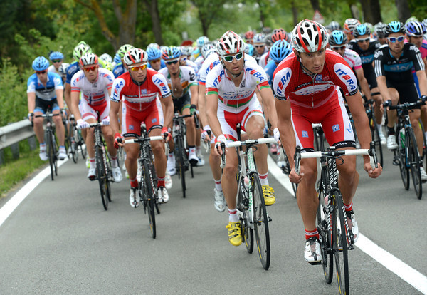 Katusha is leading the peloton, but it's barely a chase - they are 12-minutes down with 25-kilometres to go..!