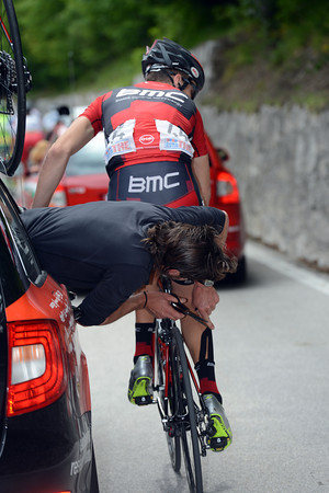 Taylor Phinney is getting 'the snip' at the back - his mechanic is removing compression tape in the warmer weather...