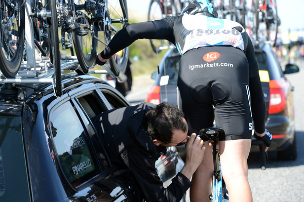Ian Stannard is getting some close-up attention from his team Sky mechanic...