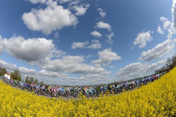 The Giro starts a new day under blue skies and springtime flowers...