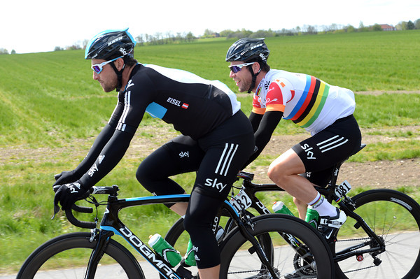 For now, Mark Cavendish can afford to laugh with Bernhard Eisel - but the chasing must start soon...