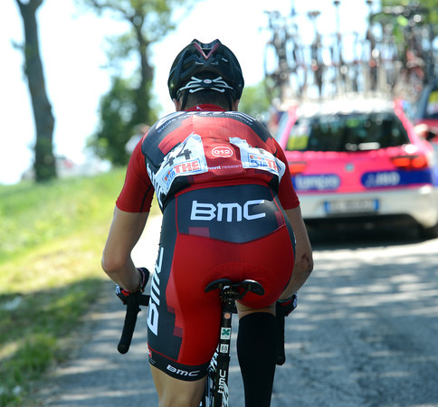 The high speed and hills have spat an injured Taylor Phinney out of the back...