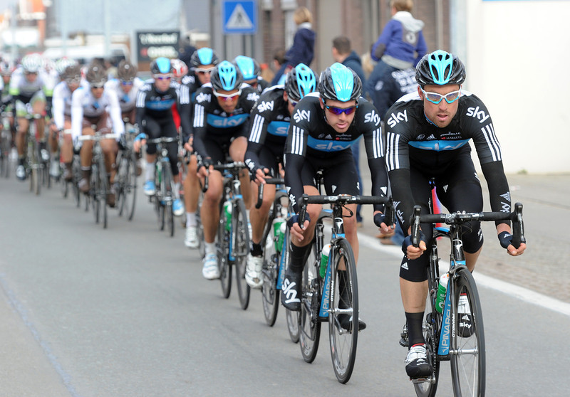 Team Sky makes its intentions well known by riding behind Bernhard Eisel in pursuit...
