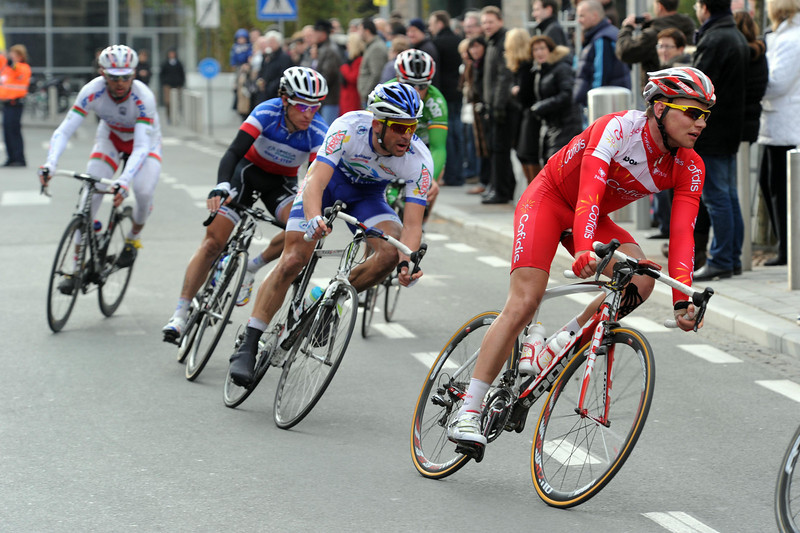 Jan Ghyselinck leads the escape througn Kortrijk with 15-kilometres to go...
